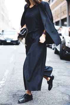 all black. culottes. blazer.
