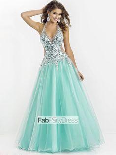 Ball Gown V-neck  Beading  Sleeveless Floor-length Tulle  Prom Dresses / Evening Dresses