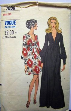 Vintage 1960s Vogue 7630 One-Pice GOWN Dress Pattern sz 12 bust 34 by RaggsPatternStash on Etsy