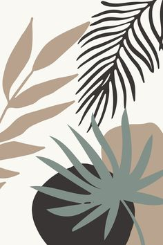 Abstract Modern Leaves Wallpaper