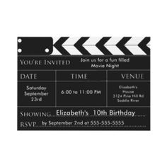 Movie theme party invitations and ideas.