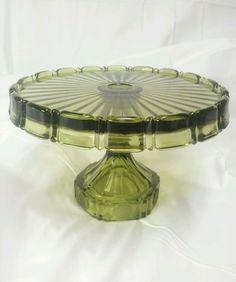 Fostoria Olive Green Coin Glass Cake Plate Pedestal