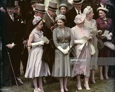 Princess Margaret (1930 - 2002), Queen Elizabeth II and the Queen Mother (1900 - 2002) at the Derby, Epsom Downs Racecourse, Surrey, June 1958.