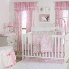 product image for The Peanut Shell® Damask Crib Bedding Collection in Pink