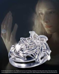 Looks like dragonfly wings making this flower. I've been longing for this ring for years. Nenya ring prop replica from Lord of the Rings. $149