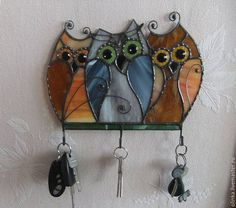 Stained glass Owl.Housekeeper stained glass . Оwl family.