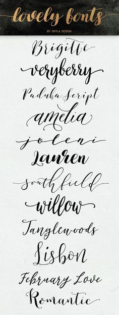 Lovely modern calligraphy fonts some free | Handlettered, Cute & Modern calligraphy brush fonts, some free & for commercial use.