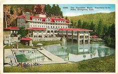 Evergreen Colorado 1920 Troutdale Hotel Swimming Pool Antique Vintage Postcard Evergreen Colorado CO 1920s Troutdale Hotel, Troutdale in the Pines, and swimming pool. Used collectible antique vintage