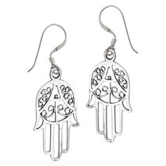Sterling Silver Hand of Protection Dangle Earrings