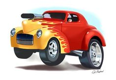 Cartoon Hot Rod Cars | Willys Street Rod Cartoon Muscle Car Tshirt