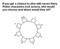 1. Bellatrix, 2. Luna, 3. Viktor Krum, 4. Ron, 5. Hermione, 6. Dumbledor, 7. Voldemort. And Dobby will be the center-piece for the table, since there's no seat for him =[