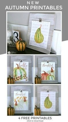 Budget-friendly ways to decorate for autumn and fall. Printable wall art for fall. See TodaysCreativeLIfe.com for download instructions. Crafts For Teens To Make, Spring Crafts For Kids, Fall Crafts, Diy And Crafts, Dollar Store Crafts, Fall Diy, Printable Wall Art, Diys, Decor Ideas