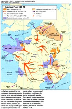 Revolutionary France under attack by Royalist European powers from all sides French History, European History, France Map, French Revolution, Napoleonic Wars, Historical Maps, World History, Revolutionaries, Rugs On Carpet