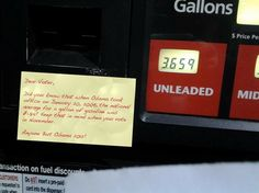 "Get Your Gas Pump ""Stick it to Obama"" Sticky Notes today!  http://patriotdepot.com/gas-pump-stick-it-to-obama-notes-25-pack/"