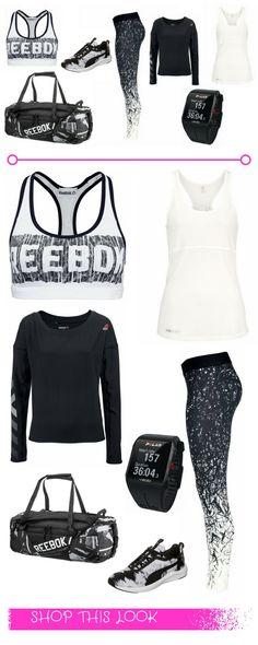 """Fitness-Outfit für Frauen – """"The gym is waiting"""" - Sportbekleidung im Black & White / Schwarz-Weiß-Look: Sport-Bra, weißes Tank-Top, gemusterte Fitness-Leggings von Reebok, Sporttasche, Fitness-Tracker, Workoutschuhe, Langarmshirt"""