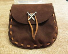 Chocolate Brown Suede Soft Leather Medieval / Renaissance Style Pouch