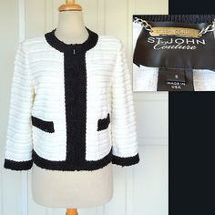 "ST. JOHN COUTURE ~ Novelty Knit Wool Blend Jacket ~ ""NEW"" Size 8 $385  SOLD!"