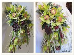 Bridal bouquets spill , green cymbidiums זרי כלה בעלי מבנה נשפך - (re)Pinned by www.westpointorchids.com