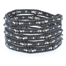 Peacock Mix Seed Bead Wrap Bracelet on Natural Grey Leather