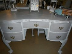 Paris Grey and French linen Paris Grey, Office Desk, Vanity, Furniture, French Linen, Home, Painted Furniture, Modern, Home Decor