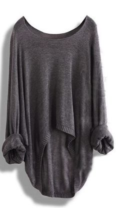 Long-sleeved Knit Shirt Batwing Loose Asymmetric Blouse Sweater - Street Fashion, Casual Style, Latest Fashion Trends - Street Style and Casual Fashion Trends Mode Outfits, Fall Outfits, Fashion Outfits, Womens Fashion, Fashion Boots, Oversized Grey Sweater, Loose Sweater, Comfy Sweater, Slouchy Sweater