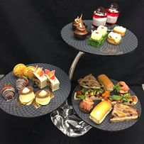 #hightea #stand #presentation Large three tier high tea stand custom designed for Sheraton On The Park Sydney by Glass Studio! See more high tea designs at http://the-glass-co.com/glass-dinnerware/high-tea-afternoon-tea-stands/