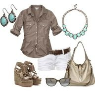 Grey chambray, turquoise jewelry, brown belted white shorts
