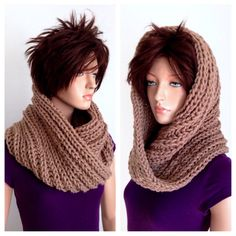 Infinity Cowl/ Unisex Knitted Cowl in Tan by Africancrab on Etsy