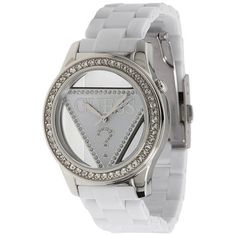 GUESS GUESS 25th Anniversary Watch GUESS. $84.95. Silver-tone, white and crystal dial. Polished silver-tone and crystal case. Ladies watches. Women's trends. White polycarbonate bracelet