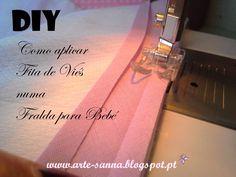 Tutorial - Como aplicar Fita de Viés numa Fralda de Bebé DIY - How to Sew Bias tape