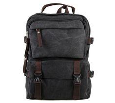 84.78$  Watch now - http://aliwfa.worldwells.pw/go.php?t=32230234003 - 9018A Casual Canvas Backpack Bookbag Schoolbag Hiking Bag Black