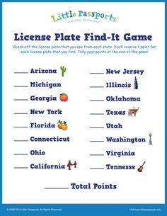 Printable License Plate Game from Little Passports