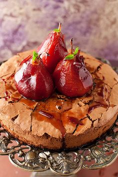 Chocolate Cake with Poached Pears in Red Wine