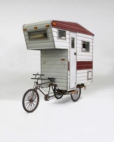 When I was a kid, I always wanted a camper or motorhome. I'd ride my bike around and pretend I had a camper on the back, and in my mind, it looked just like this! Bike Trailer, Camper Trailers, Eco Trailer, Cargo Trailers, Truck Camper, Travel Trailers, Camper Van, Europa Camping, Baby Bicycle