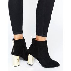 Oasis Gold Block Heeled Ankle Boots ($67) ❤ liked on Polyvore featuring shoes, boots, ankle booties, black, gold ankle boots, black gold booties, black boots, metallic booties and black bootie boots