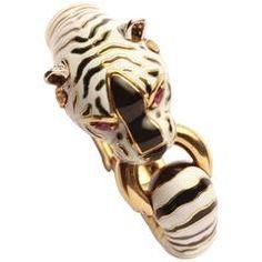 Frascarolo Itálie White Gold smalt Tiger náramek