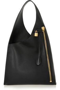 Tom Ford Alix Hobo Textured-leather Shoulder Bag In Black Fashion Bags, Fashion Backpack, Fashion Accessories, Women's Fashion, Over The Shoulder Bags, Large Shoulder Bags, Leather Clutch, Leather Handbags, Buy Bags