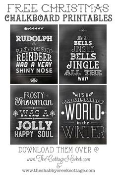 Free Christmas Chalkboard Printables - Shabby Creek Cottage