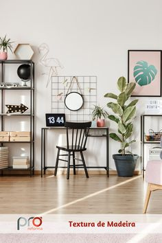 Olá! Somos o aplicativo Pró-Reforma. O app funciona assim: você se inspira em uma foto de um ambiente, responde a algumas perguntas no aplicativo sobre o cômodo que você quer reformar, e GRATUITAMENTE nós especificamos todos os materiais e serviços da sua obra, e entregamos todos os custos! Bacana, né? Se inspirar é legal, saber materializar suas ideias é incrível! :) Home Office, Office Decor, Office Ideas, Black And White Living Room, Poster Online, Messy House, Black Shelves, Black Desk, Ergonomic Chair
