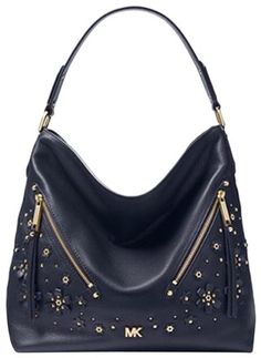 da46887952cd Michael Kors Floral Embellished Pebbled Admiral Leather Shoulder Bag - Tradesy  Leather Shoulder Bag