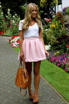 I love the color,waistline, pleats and hem of this pink skirt via @Kelsey Myers Myers Myers Myers Harvey