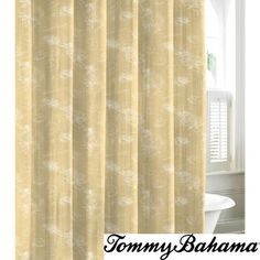 @Overstock.com.com - Tommy Bahama Paradise Postcard Cotton Shower Curtain - Composed of printed cotton, this Tommy Bahama shower curtain is a great way to update the bathroom with a touch of color. The curtain is a great way to bring the tropics indoors.  http://www.overstock.com/Bedding-Bath/Tommy-Bahama-Paradise-Postcard-Cotton-Shower-Curtain/8372751/product.html?CID=214117 $29.99