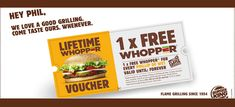 Burger King South Africa has announced that all customers named Phillip, Philip or Phillipa de Wet will receive a lifetime voucher for one free Whopper, to be redeemed at any time, in any existing or future national store.