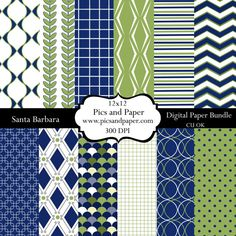 Digital scrapbooking paper in Navy and Green