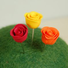 Hand Sculpted Polymer Clay Rose Sewing Pins / Stick Pins in Red, Yellow and Orange by TheBlueDaisy
