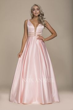 Nox Anabel NXM130 Prom Elegant Thick Strap V-Neck V-Back Full-Length Flow Prom Dress With Accent Three Stripe Ribbon Detail On Waistline. $197.00 ✔Ships in 3-5 Days  ✔All Size  ✔Online Payment Option Back Zipper #Nox #Anabel #Prom #Long #V-Neck #Evening #Dress #Detailed #Illusion #Ruffled_Bottom #Sweetheart #Bodice #Strapless #Evening #Dress #Crossed #Lace_Beaded_Bodice_Defined