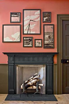 Matching this mantel's rich, dark hue to the frames above it helps unify the unusual pairing of wall colors. For a similar look, try Valspar's Lincoln Cottage Black (mantel), Amber Rose (upper wall), and Amazon Silt (wainscoting and casing). | Photo: Eric Piasecki/OTTO | thisoldhouse.com