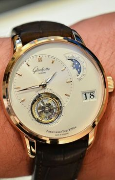 Glashütte Original PanoLunar Tourbillon - hands-on with live photos, specs and price - Monochrome-Watches Elegant Watches, Beautiful Watches, Cool Watches, Rolex Watches, Glashutte Original, Monochrome Watches, Tourbillon Watch, Skeleton Watches, Hand Watch