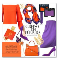 Stay Positive by kimzarad1 on Polyvore featuring polyvore fashion style Miss Selfridge Balenciaga Jimmy Choo Dolce&Gabbana Philip Stein Monica Vinader Tory Burch Matthew Williamson NARS Cosmetics Urban Decay Kate Spade clothing vibrant purpleandorange orangeandpurple