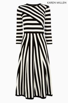 Buy Black & White Karen Millen Mixed Stripe Compact Stretch Knit Dress from the Next UK online shop